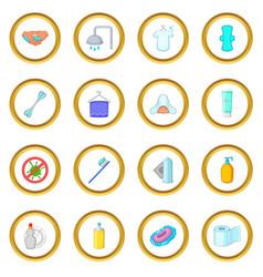 Hygiene icons circle vector