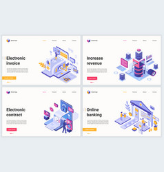 Isometric online account banking technology vector