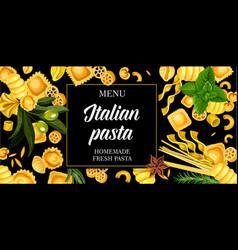 Italian pasta italy cuisine menu vector