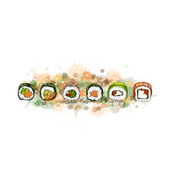 japanese food menu vegetarian set from a splash vector image