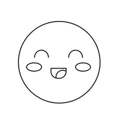 Kawaii happy face icon vector