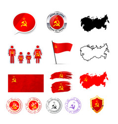large set ussr infographics elements with flags vector image
