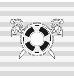 life preserver and crossed swords emblem image vector image
