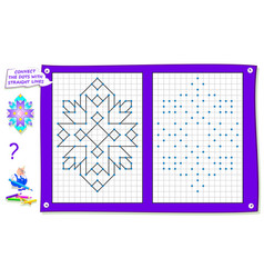 Logical puzzle game for kids on square paper vector
