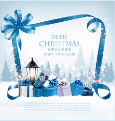 merry christmas background with presents and blue vector image