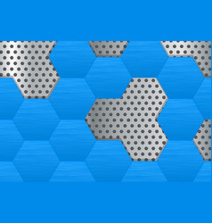 Metal perforated background with blue hexagons vector