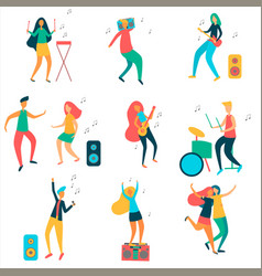 modern girls and guys are dancing and having fun vector image