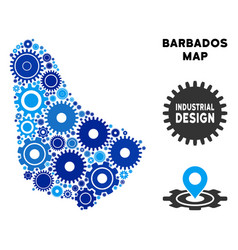 Mosaic barbados map of gears vector