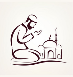 Muslim prayer outlined sketch vector