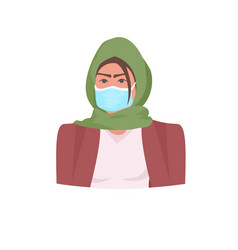 Muslim woman in hijab wearing medical mask to vector