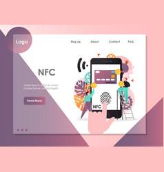 nfc website landing page design template vector image