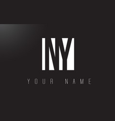 ny letter logo with black and white negative vector image