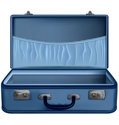 Open suitcase blue isolated on white background vector