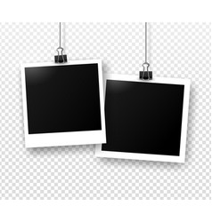 photo frames hanging on binder clips vector image