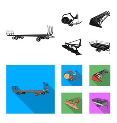 plow combine thresher trailer and other vector image