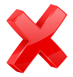 Red cross delete 3d shiny sign vector