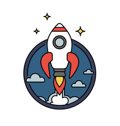 Retro colored rocket icon or circular badge vector