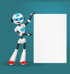 robot holding blank poster for text on blue back vector image