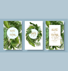 Ropical leaves wedding invitation card set vector
