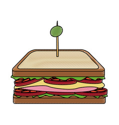 sandwich tomato cheese traditional ham and olive vector image