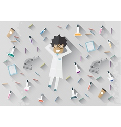Scientist in lab lying on the floor vector image
