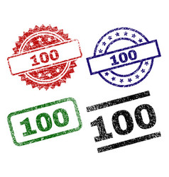 scratched textured 100 stamp seals vector image