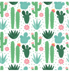 seamless cactus pattern exotic desert cacti vector image