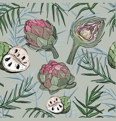seamless pattern with hand drawn artichoke vector image