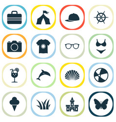 season icons set with camera tent fresh juice vector image