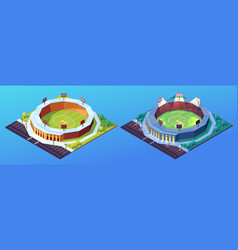 set isolated day and night stadiums for cricket vector image