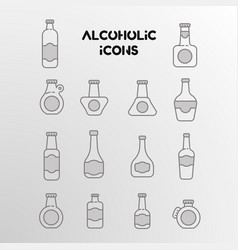 set linear icons alcohol bottles vector image