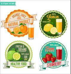 Set organic fruit labels vector
