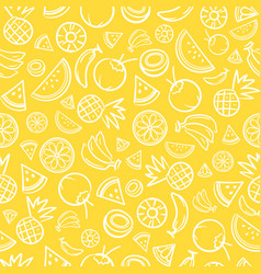 sketch mixed tropical fruits seamless pattern vector image