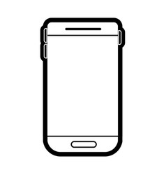 smartphone device icon in black silhouette with vector image