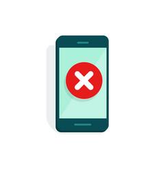 smartphone with error alert vector image
