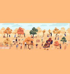 Smiling people gathering fruits in orchard vector