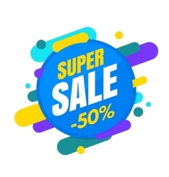 Super sale banner colorful and playful design vector