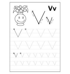 Tracing alphabet letter v black and white vector
