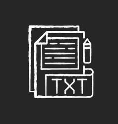 txt file chalk white icon on black background vector image