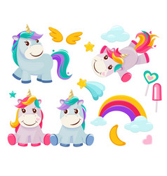 Unicorn cute magic animals happy birthday symbols vector