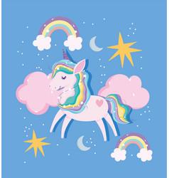 unicorn rainbow mane tail clouds stars moon magic vector image
