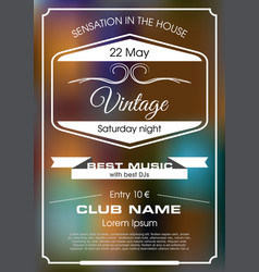 vintage flyer with white text vector image