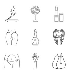 washover icons set outline style vector image