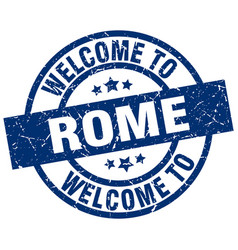 welcome to rome blue stamp vector image