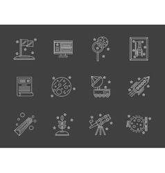 White flat line space research icons set vector