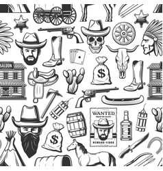 Wild west and cowboy western seamless pattern vector