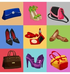 Women bags shoes and accessories collection vector image