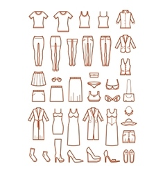 Womens clothing female fashion line icons vector