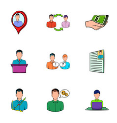 work candidate icons set cartoon style vector image