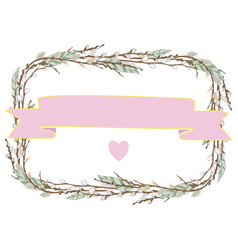 wreath from willow branches vector image